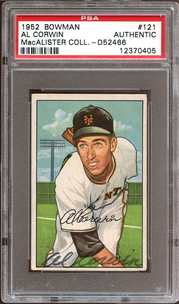 1952 Bowman #121 Al Corwin Autographed PSA/DNA AUTHENTIC