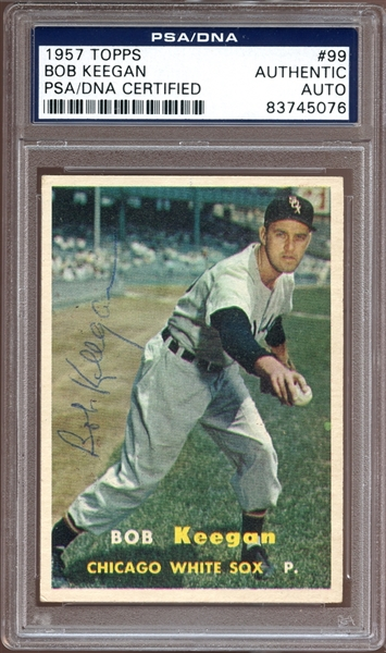 1957 Topps #99 Bob Keegan Autographed PSA/DNA AUTHENTIC