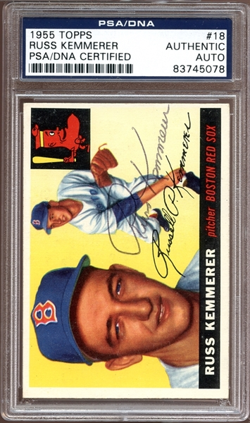 1955 Topps #18 Russ Kemmerer Autographed PSA/DNA AUTHENTIC