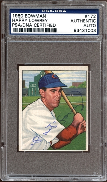 1950 Bowman #172 Harry Lowrey Autographed PSA/DNA AUTHENTIC