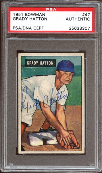 1951 Bowman #47 Grady Hatton Autographed PSA/DNA AUTHENTIC