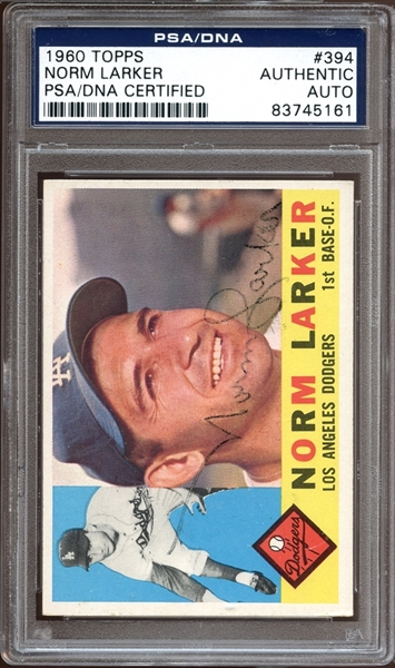 1960 Topps #394 Norm Larker Autographed PSA/DNA AUTHENTIC