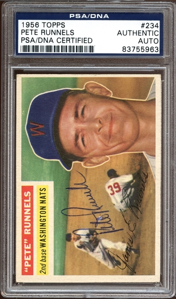 1956 Topps #234 Pete Runnels Autographed PSA/DNA AUTHENTIC