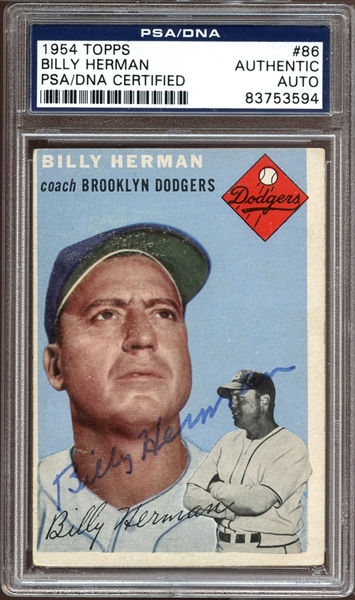 1954 Topps #86 Billy Herman Autographed PSA/DNA AUTHENTIC