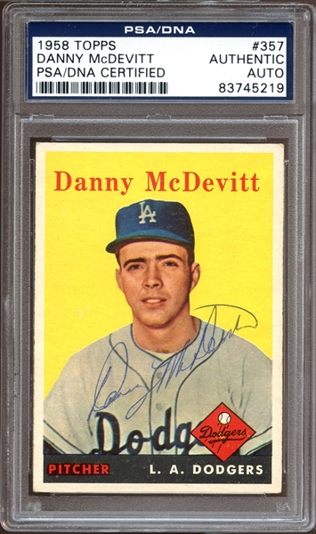 1958 Topps #357 Danny McDevitt Autographed PSA/DNA AUTHENTIC