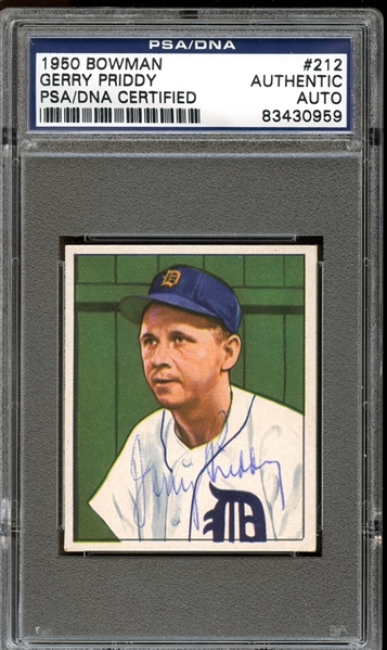 1950 Bowman #212 Gerry Priddy Autographed PSA/DNA AUTHENTIC