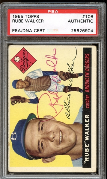 1955 Topps #108 Rube Walker Autographed PSA/DNA AUTHENTIC