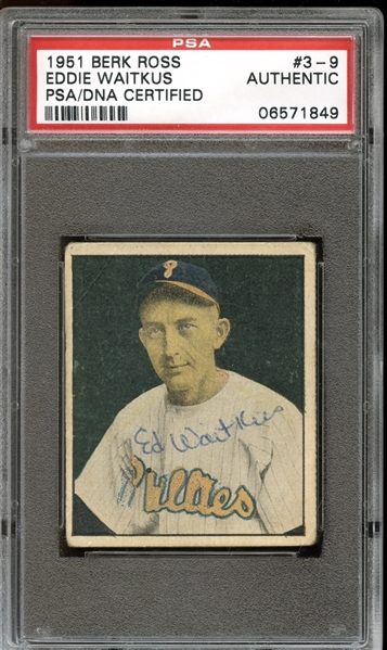 1951 Berk Ross #3-#9 Eddie Waitkus Autographed PSA/DNA AUTHENTIC