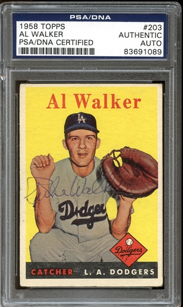 1958 Topps #203 Al Rube Walker Autographed PSA/DNA AUTHENTIC
