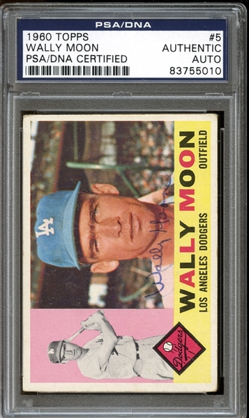 1960 Topps #5 Wally Moon Autographed PSA/DNA AUTHENTIC
