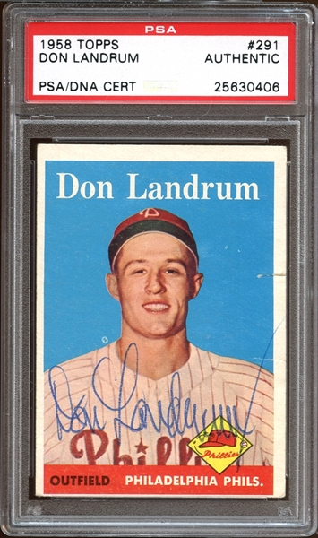 1958 Topps #291 Don Landrum Autographed PSA/DNA AUTHENTIC