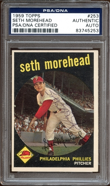 1959 Topps #253 Seth Morehead Autographed PSA/DNA AUTHENTIC