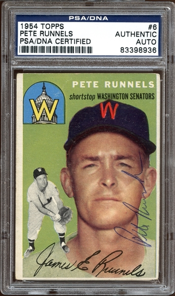 1954 Topps #6 Pete Runnels Autographed PSA/DNA AUTHENTIC