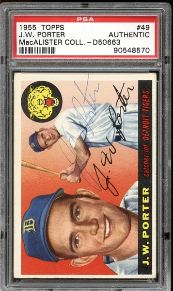 1955 Topps #49 J.W. Porter Autographed PSA/DNA AUTHENTIC