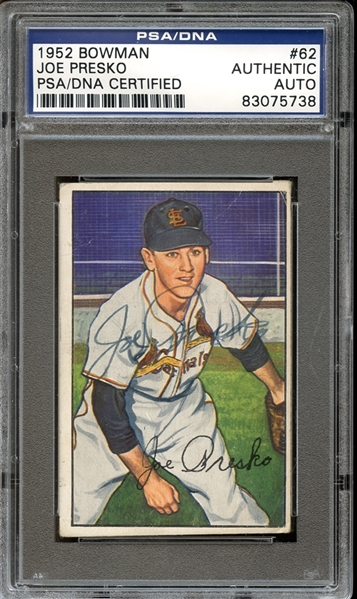 1952 Bowman #62 Joe Presko Autographed PSA/DNA AUTHENTIC