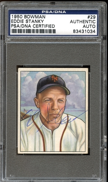 1950 Bowman #29 Eddie Stanky Autographed PSA/DNA AUTHENTIC