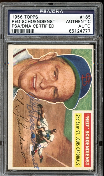 1956 Topps #165 Red Schoendienst Autographed PSA/DNA AUTHENTIC