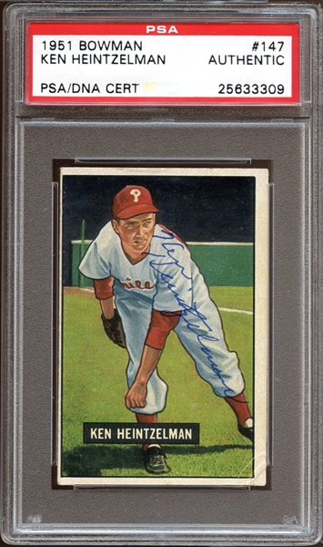 1951 Bowman #147 Ken Heintzelman Autographed PSA/DNA AUTHENTIC