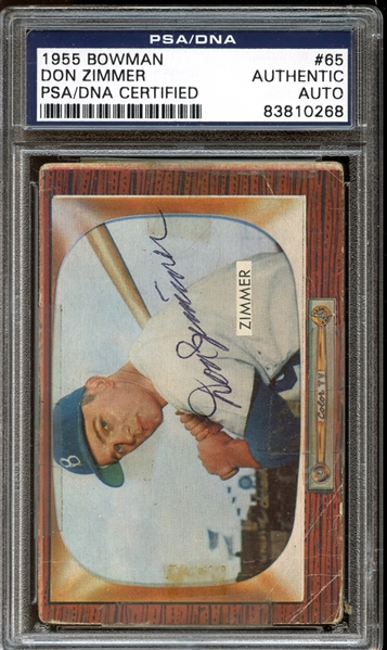 1955 Bowman #65 Don Zimmer Autographed PSA/DNA AUTHENTIC