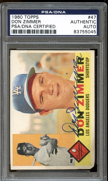 1960 Topps #47 Don Zimmer Autographed PSA/DNA AUTHENTIC