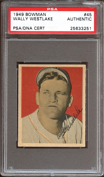 1949 Bowman #45 Wally Westlake Autographed PSA/DNA AUTHENTIC