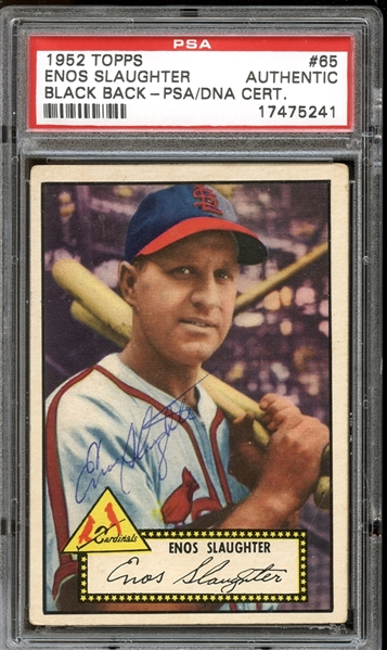 1952 Topps #65 Enos Slaughter Autographed PSA/DNA AUTHENTIC