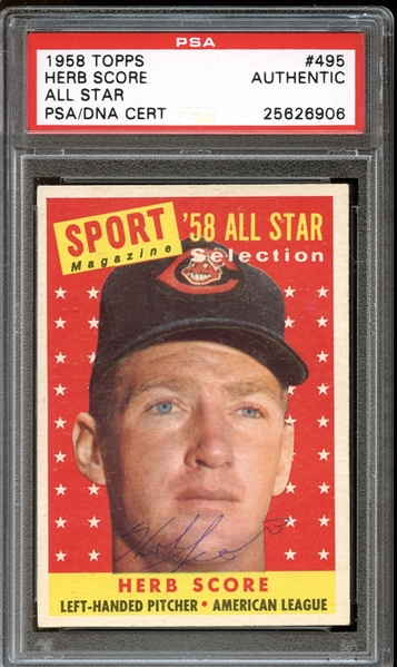 1958 Topps #495 Herb Score All Star Autographed PSA/DNA AUTHENTIC
