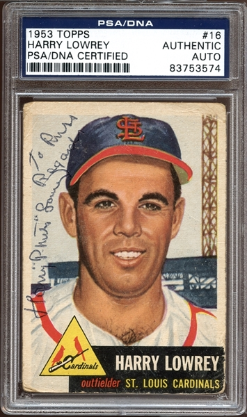 1953 Topps #16 Harry Lowrey Autographed PSA/DNA AUTHENTIC