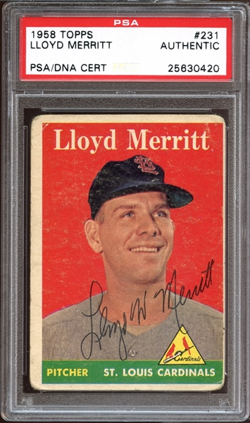 1958 Topps #231 Lloyd Merritt Autographed PSA/DNA AUTHENTIC