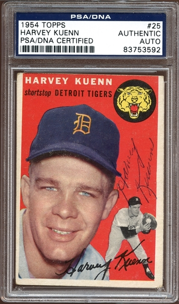 1954 Topps #25 Harvey Kuenn Autographed PSA/DNA AUTHENTIC