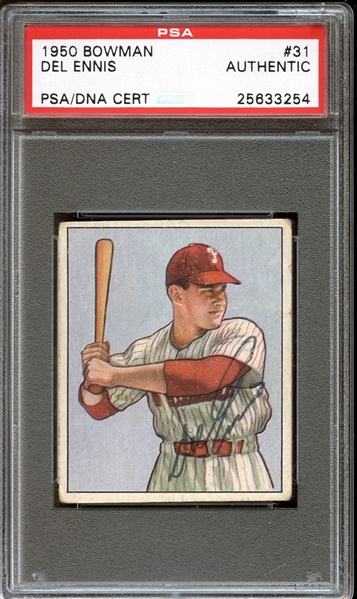 1950 Bowman #31 Del Ennis Autographed PSA/DNA AUTHENTIC