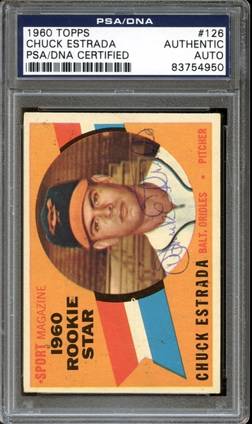 1960 Topps #126 Chuck Estrada Autographed PSA/DNA AUTHENTIC