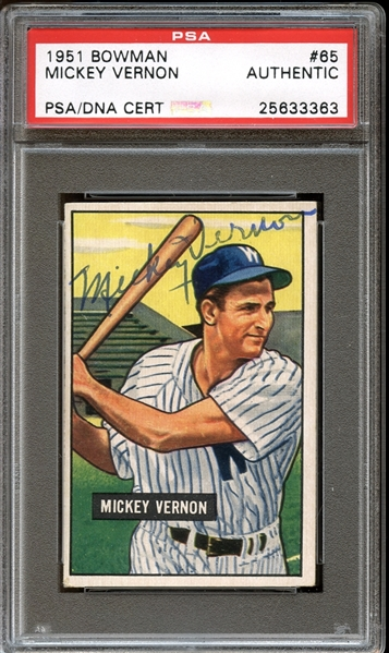 1951 Bowman #65 Mickey Vernon Autographed PSA/DNA AUTHENTIC