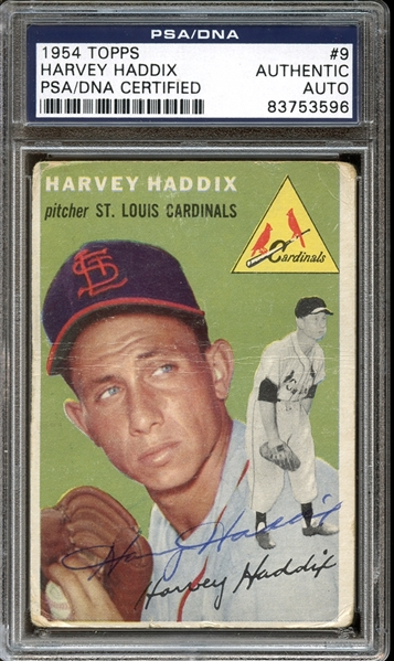 1954 Topps #9 Harvey Haddix Autographed PSA/DNA AUTHENTIC