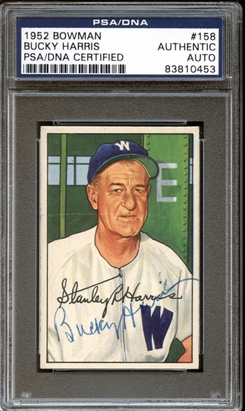 1952 Bowman #158 Bucky Harris Autographed PSA/DNA AUTHENTIC