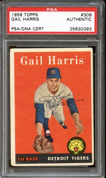1958 Topps #309 Gail Harris Autographed PSA/DNA AUTHENTIC