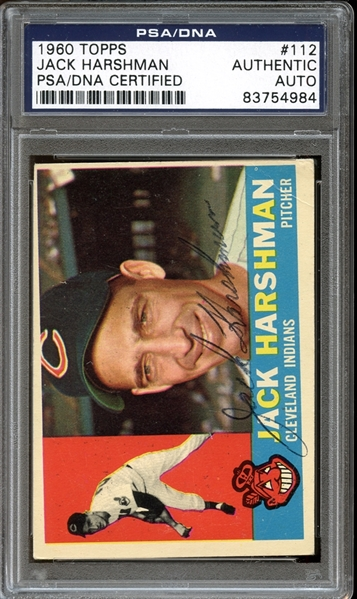1960 Topps #112 Jack Harshman Autographed PSA/DNA AUTHENTIC