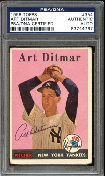 1958 Topps #354 Art Ditmar Autographed PSA/DNA AUTHENTIC