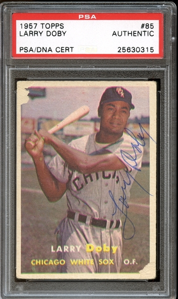 1957 Topps #57 Larry Doby Autographed PSA/DNA AUTHENTIC