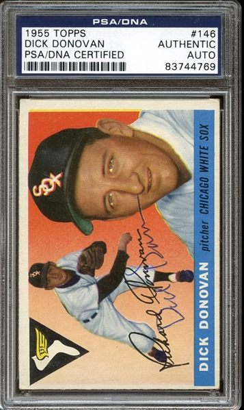 1955 Topps #146 Dick Donovan Autographed PSA/DNA AUTHENTIC