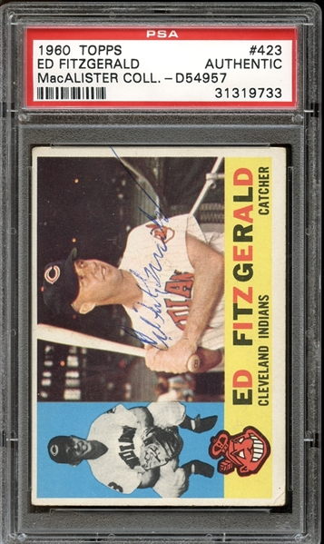 1960 Topps #423 Ed Fitzgerald Autographed PSA/DNA AUTHENTIC