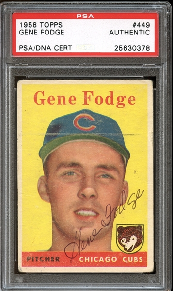 1958 Topps #449 Gene Fodge Autographed PSA/DNA AUTHENTIC