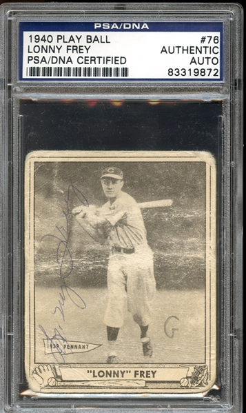 1940 Play Ball #76 Lonny Frey Autographed PSA/DNA AUTHENTIC