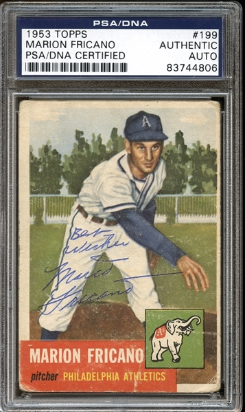 1953 Topps #199 Marion Fricano Autographed PSA/DNA AUTHENTIC