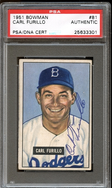 1951 Bowman #81 Carl Furillo Autographed PSA/DNA AUTHENTIC