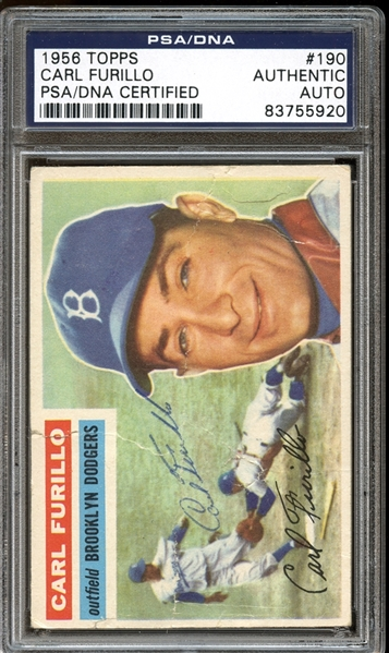 1956 Topps #190 Carl Furillo Autographed PSA/DNA AUTHENTIC