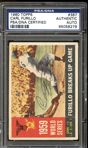 1960 Topps #387 Carl Furillo World Series Game #3 Autographed PSA/DNA AUTHENTIC