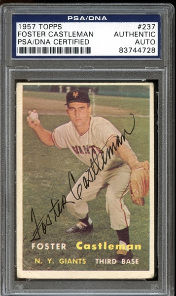 1957 Topps #237 Foster Castleman Autographed PSA/DNA AUTHENTIC