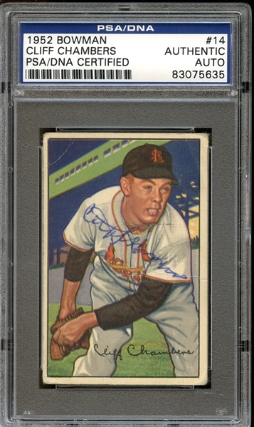 1952 Bowman #14 Cliff Chambers Autographed PSA/DNA AUTHENTIC