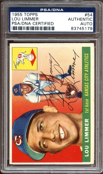1955 Topps #54 Lou Limmer Autographed PSA/DNA AUTHENTIC